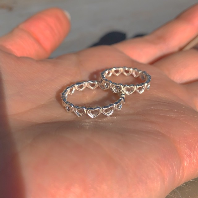 bone HEART eternity RING SILVER925 #LJ19011R