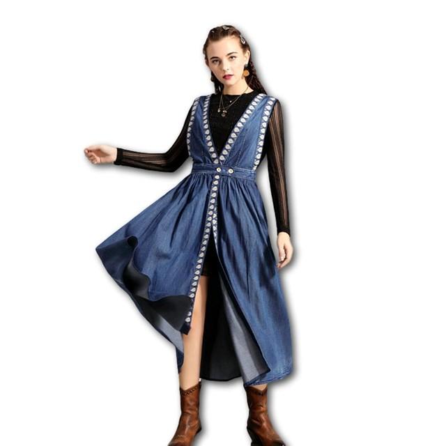 ツーピース セットアップ 刺繍 デニム& レースカットソー  ワンピース 長袖 7分丈 Z490