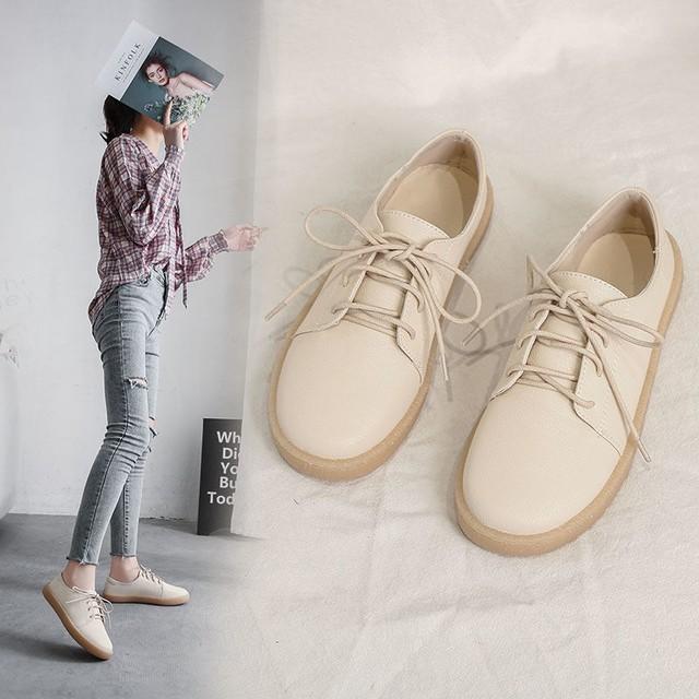 【shoes】トレンド感じソフトイングランド風フラットシューズ
