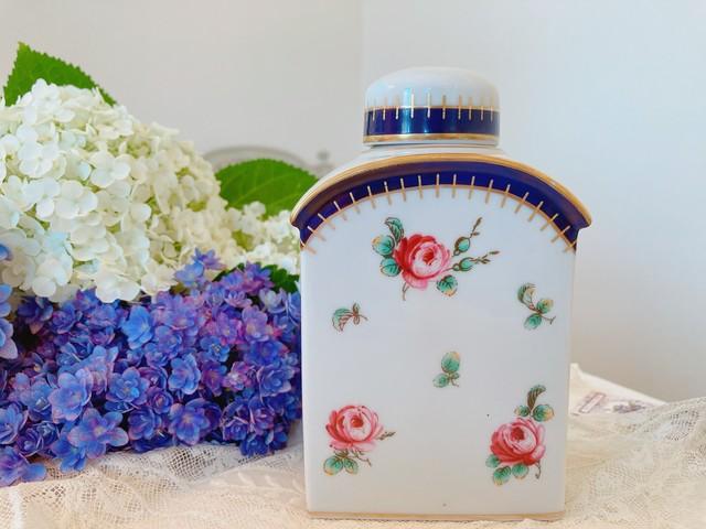イタリア リチャードジノリ 薔薇柄の陶器瓶