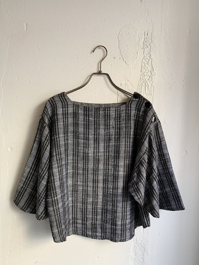 vintage half sleeve check pattern tops