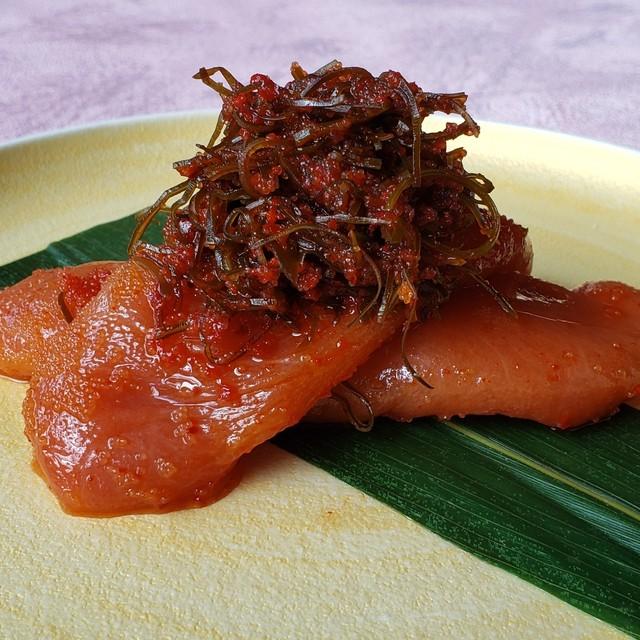 旅館大橋の朝 柿の葉辛子明太子