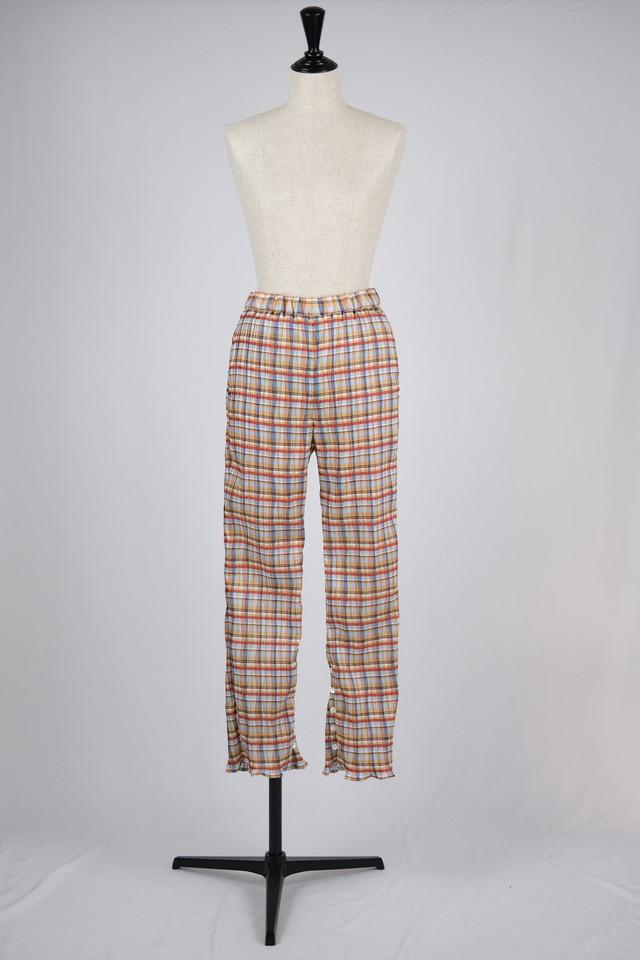 【BELPER】pleated pants - madras check