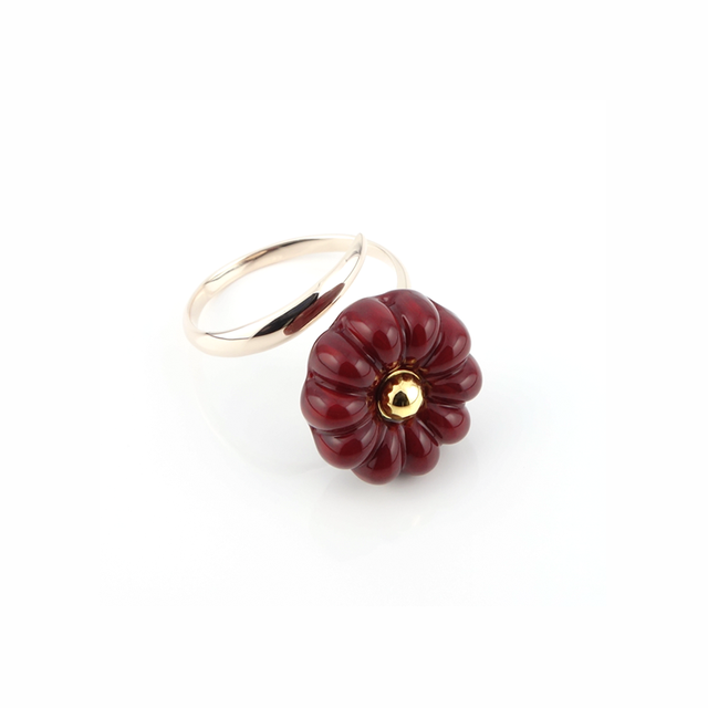 "k10_flower glass_ring ""dark ruby"""