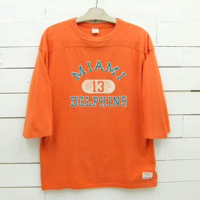 1980's Champion チャンピオン フットボールTシャツ MIAMI DOLPHINS 13 ナンバリング オレンジ ビンテージ メンズ Lサイズ made in usa