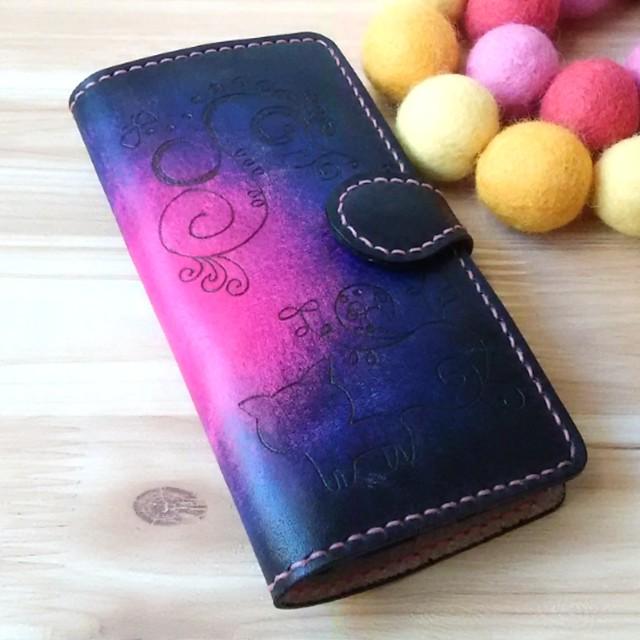 Android・スマホ全機種対応☆本革 手帳型ケース ピンク パープル ブラック 猫