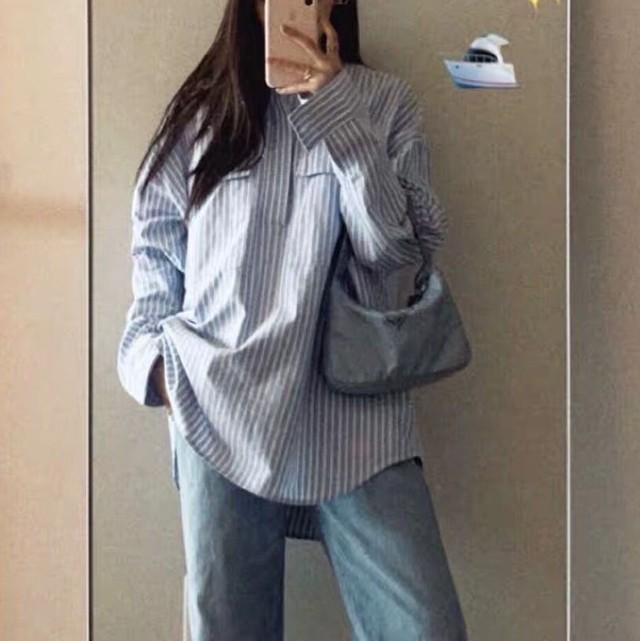 【tops】韓国ファッションストライプ柄ゆるっと感じシャツ
