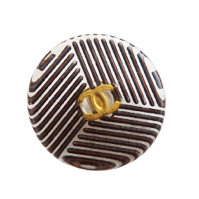 【LAST ONE SALE】クリアボーダー ココマーク埋め込み ボタン ブラウン18mm