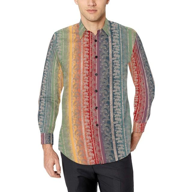 和柄家紋ストライプレインボー ユニセックスサイズ長袖シャツ