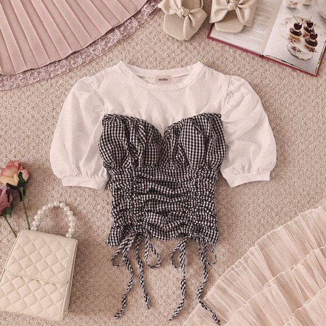 【meltie】check bustier puff T