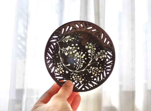 ミモザ黒透かし小鉢