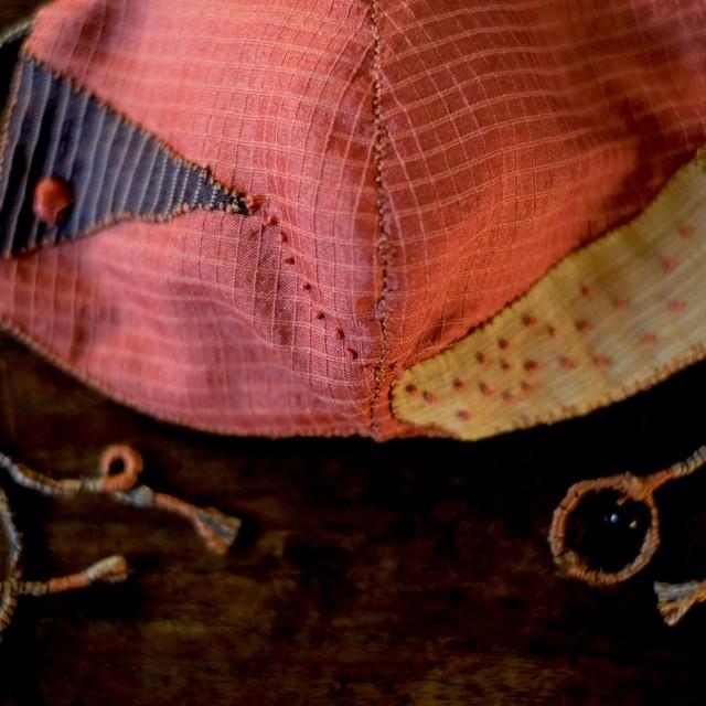 anima mask #52「gift 命のたまもの3」草木染め絹と炭染有機木綿