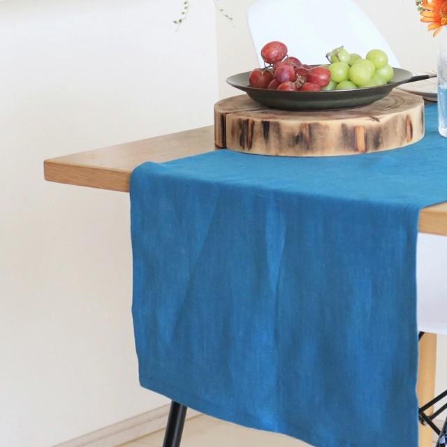 ナチュラルリネン テーブルランナー ブルー