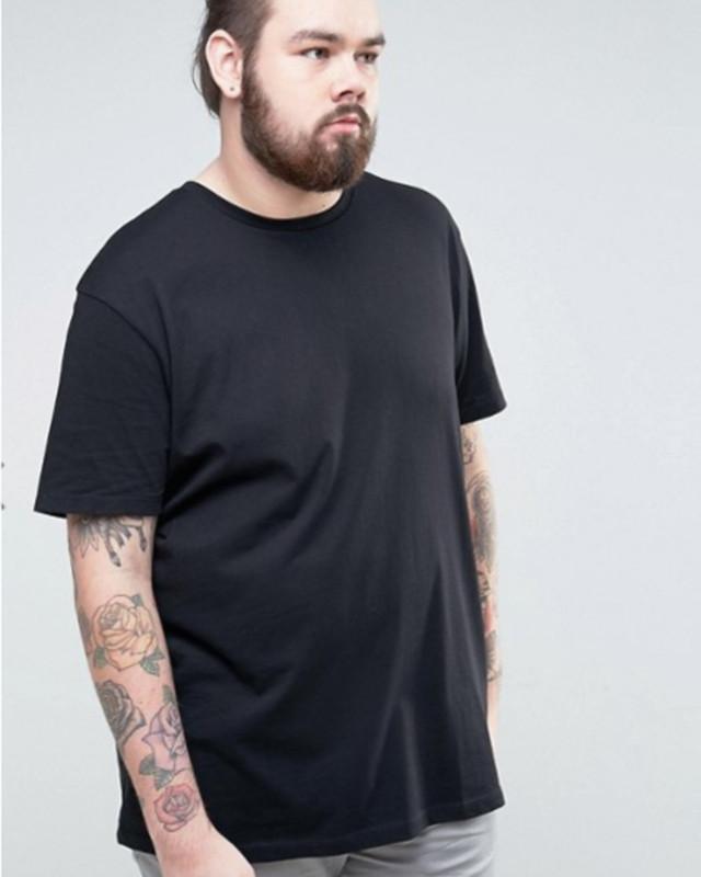 ビッグサイズ ロングライン Tシャツ(ブラック)