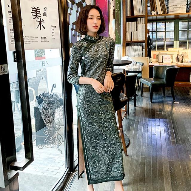 ロング丈チャイナドレス チャイナ風ワンピース ロングドレス 長袖 厚て 暖か 大きいサイズ S M L LL 3L チャイナ風服 レトロ スリム 気質アップ