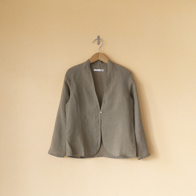 evam eva エヴァムエヴァ linen shirt cardigan リネンシャツカーディガン・サンド