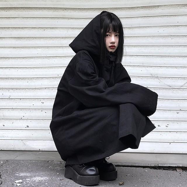 フード付き ジャケット ユニセックス ショートコート メンズ レディース ルーズ 韓国ファッション コート ラグランスリーブ オーバーサイズ 春 秋 暗黒 / Dark chic loose in jacket unisex (DTC-602585917103)
