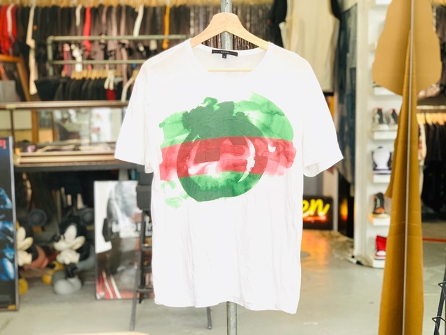 GUCCI GG LOGO WATERCOLOR TEE WHITE SMALL 35JG7673