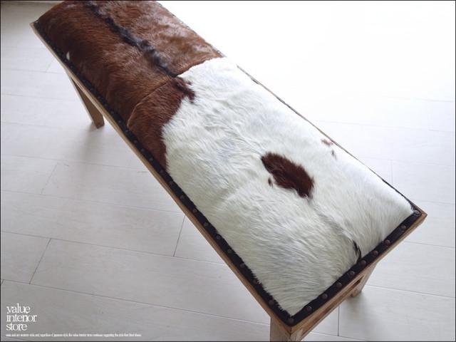 オールドチーク無垢 ハラコベンチfur 長椅子 毛皮 新品 本皮ソファ イス 古材 手作り レザー張り 毛皮張り レトロ調 銘木家具 送料無料