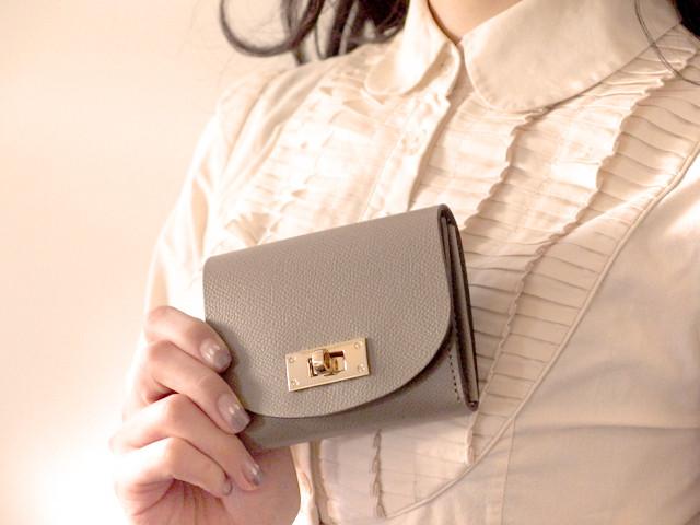 【限定色】身軽にキメたい時のコンパクト財布|T式パーティーレザー・グレージュ