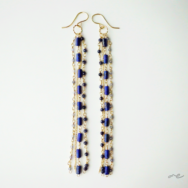 【再入荷】I-Lines Earrings(Lapislazuli×Sapphire×Iolite)/14KGF