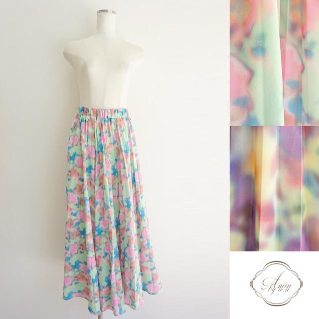 カラーフラワープリーツスカート
