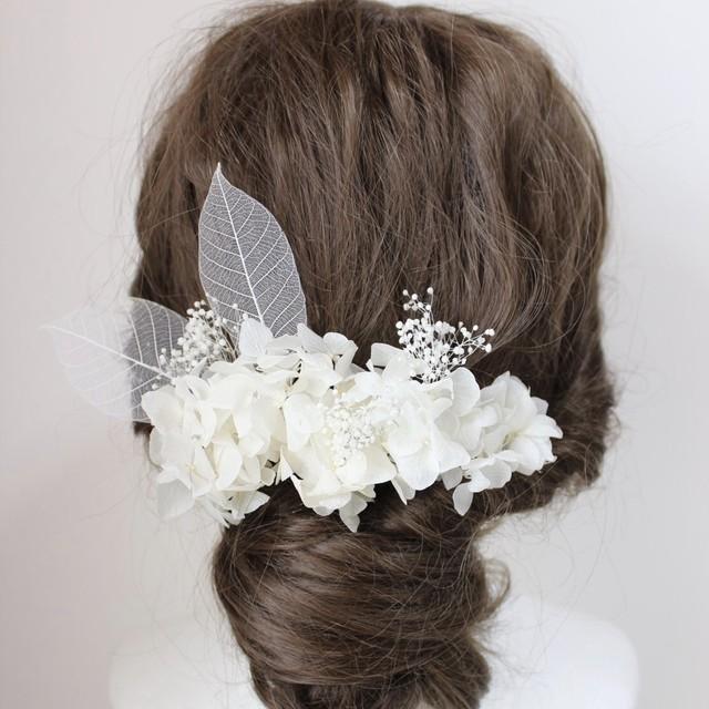 白のダリア、カラフルマムの髪飾り