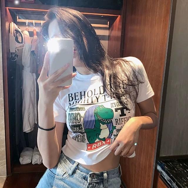 【トップス】ショート丈カジュアルキュートプリント半袖Tシャツ28950118