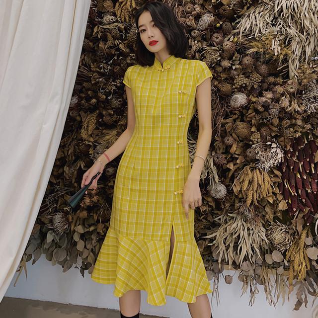 チャイナドレス チャイナ風ワンピース チャイナ風服 中華服 スタンドネック 半袖 マーメイドライン 着痩せ 大きい S M L LL 3L 普段着 パーティー 女子会 個性的 ファション イエロー 黄色い チェック柄 可愛い