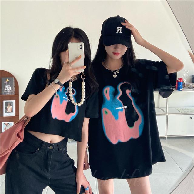 【トップス】ファッション半袖ラウンドネックプルオーバーTシャツ46627326