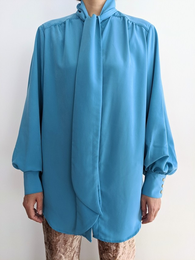 Classic Tie Neck Shirt - Turquoise