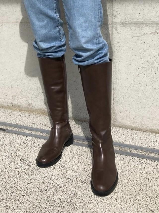 【予約】flat heel long boots / brown (11月中旬発送予定)