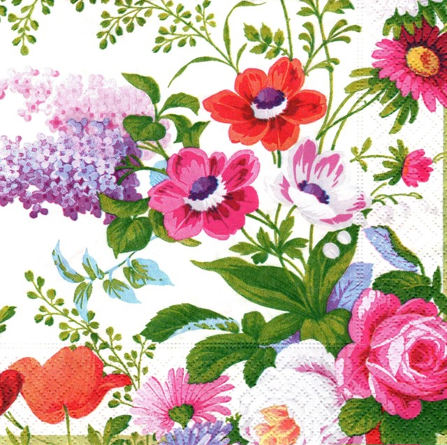 【Caspari】バラ売り1枚 ランチサイズ ペーパーナプキン EDWARDIAN GARDEN アイボリー