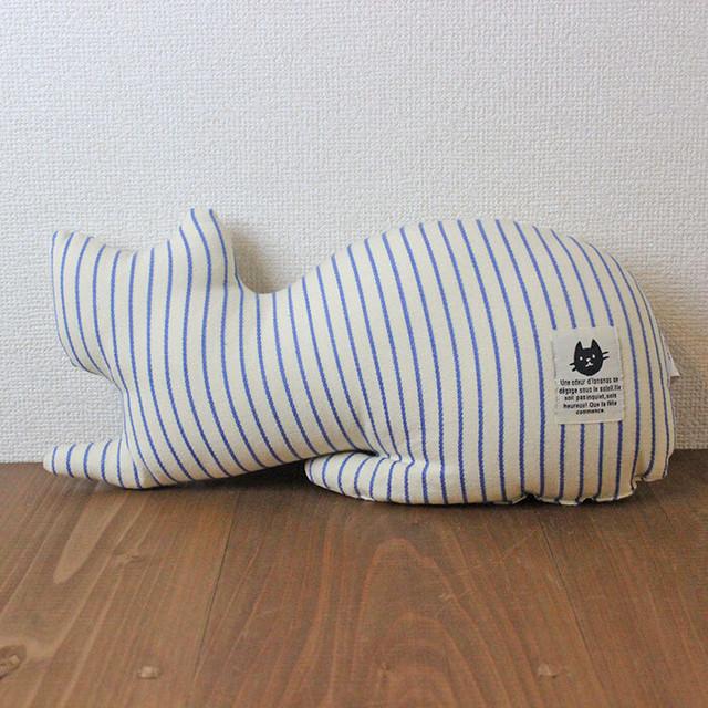 【FETE(フェット)】ミニクッション(ネコ)(ブルー)【猫柄 neko 猫 クッション】