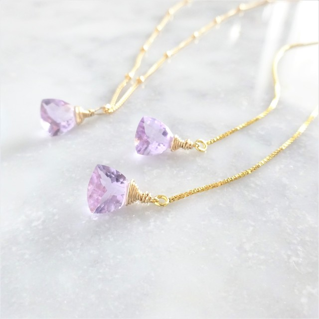 送料無料14kgf*宝石質 Pink Amethyst Triangl necklace