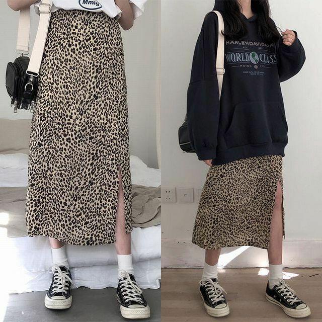 レディース ヒョウ柄スカート レオパードスカート タイト ハイウエスト スリット 春コーデ / Leopard Print Multipurpose Slim Slim A-Line Split Middle-Length Skirt (DCT-587256346675)