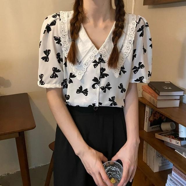 【トップス】女性大人気 スウィート エレガント  配色 ラウンドカラー シャツ45053111