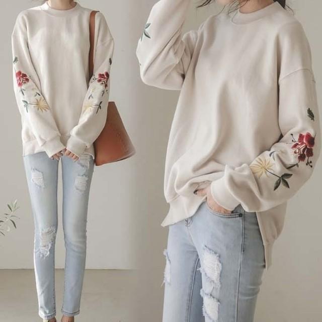 【予約】花柄 春色 トレーナー 刺繍 カットソー ルーズフィット Tシャツ