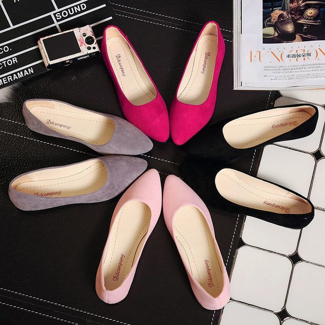 【Hyun Funi】パンプス 靴 ペタンコ ぺたんこ フラット フラットパンプス / Flat sharp suede casual work shoes (DCT-544977817947_5)