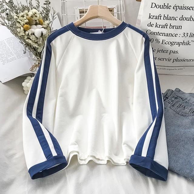 【トップス】安い S-XL 配色 学園風 カジュアル ラウンドネック ショート丈 Tシャツ43086901