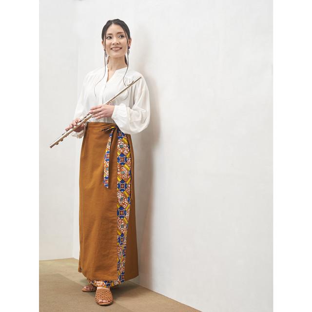 リバーシブル巻きスカート キャメル ラピス (日本縫製) 異素材 2way アフリカンプリント アフリカンファブリック フリカンバティック アフリカ布 ガーナ布 ラップスカート