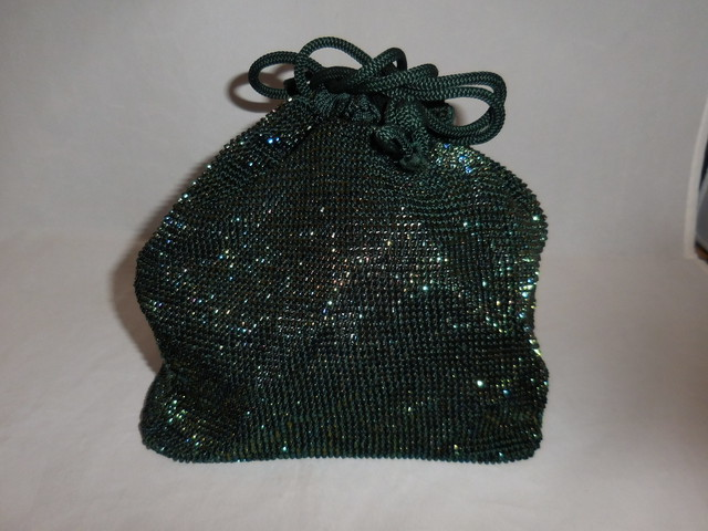 紺ビーズかかえバック bead vintage bag (made in Japan)(No5)