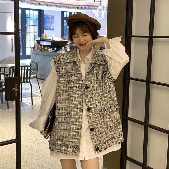 【セット】「単品注文」韓国系ノースリーブシングルブレストPOLOネックベスト+シャツ50941300