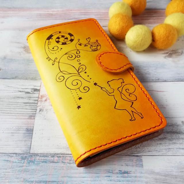 iPhone [6Plus~8Plus/X/XR/XS/XS Max]手帳型ケース イエロー オレンジ ティンカーベル
