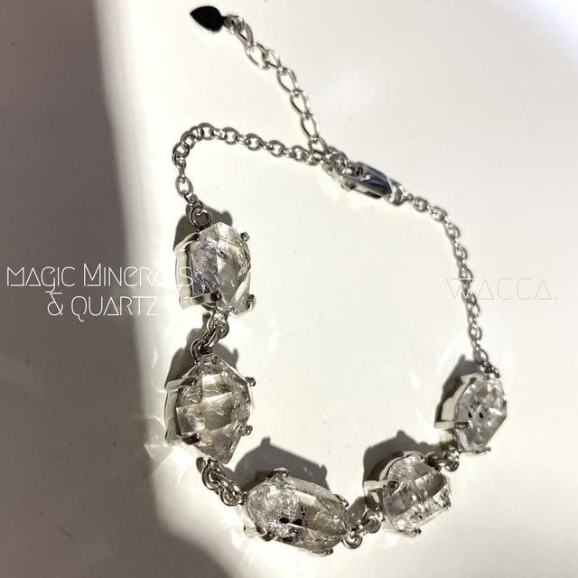 ●rock● ハーキマーダイアモンド 水晶 モード ナチュラル デザイン 個性 モノトーン シルバー シンプル 天然石