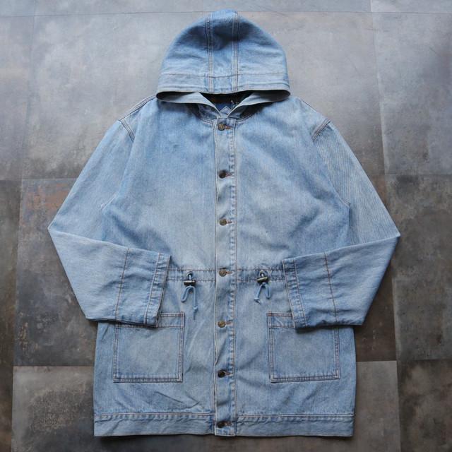 old denim hoodie coat