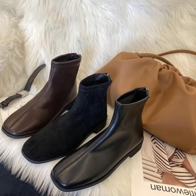 シンプル ショート レザー ブーツ 2色 B1466