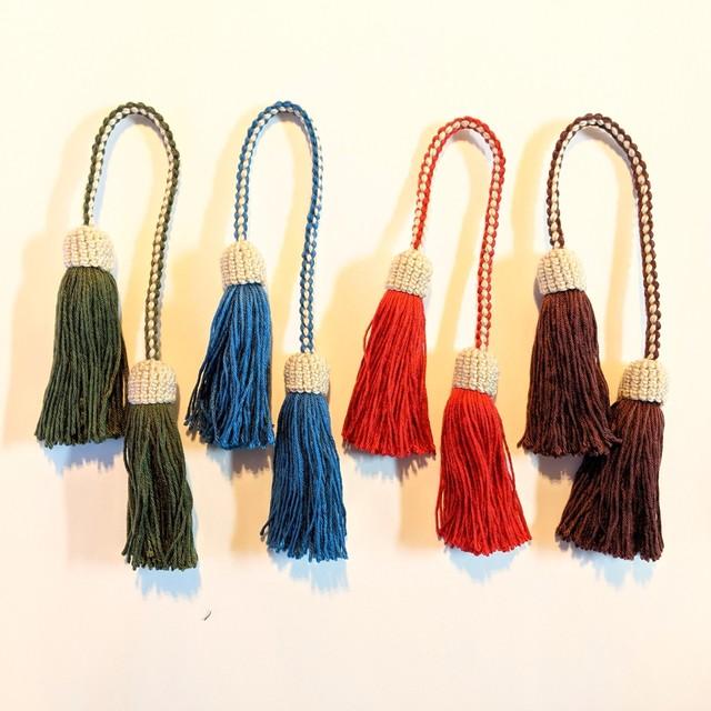 ◆出張中◆チェンマイ コットン糸で作った手編みのダブルタッセルチャーム
