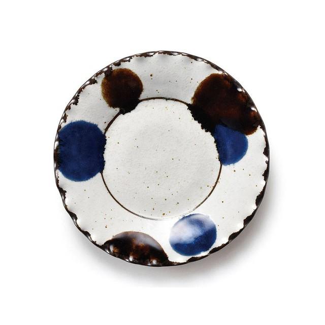 「るり玉 Dots of Ruri」渕波 プレート 皿 約17cm グレー 美濃焼 288083
