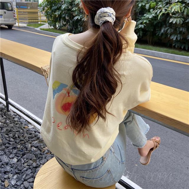 【トップス】シンプルラウンドネックプリントフルーツプルオーバーTシャツ38217811